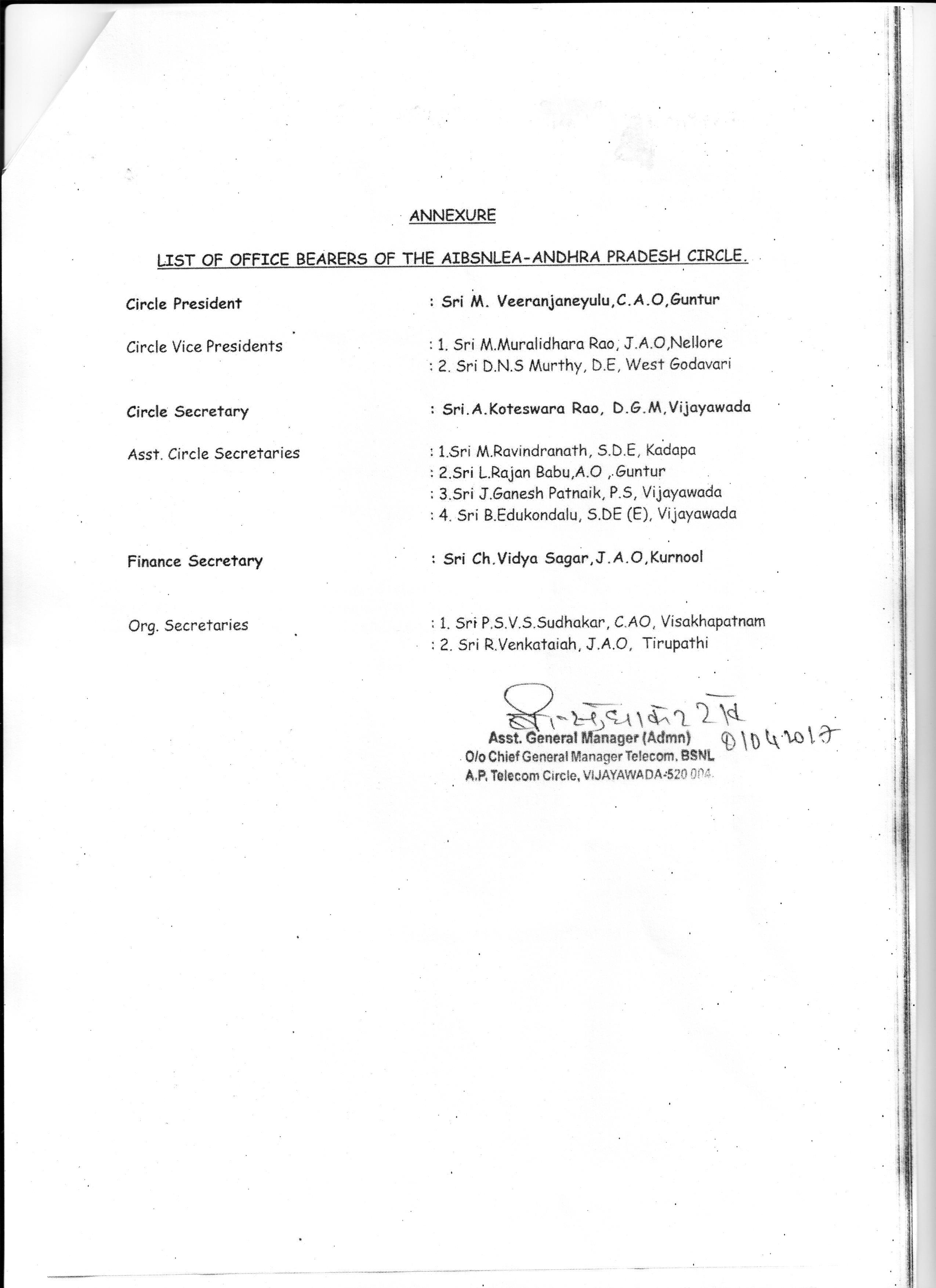 AIBSNLEA AP CIRCLE ,Vijayawada 001